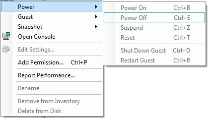 Vmware vSphere Client VM Controls